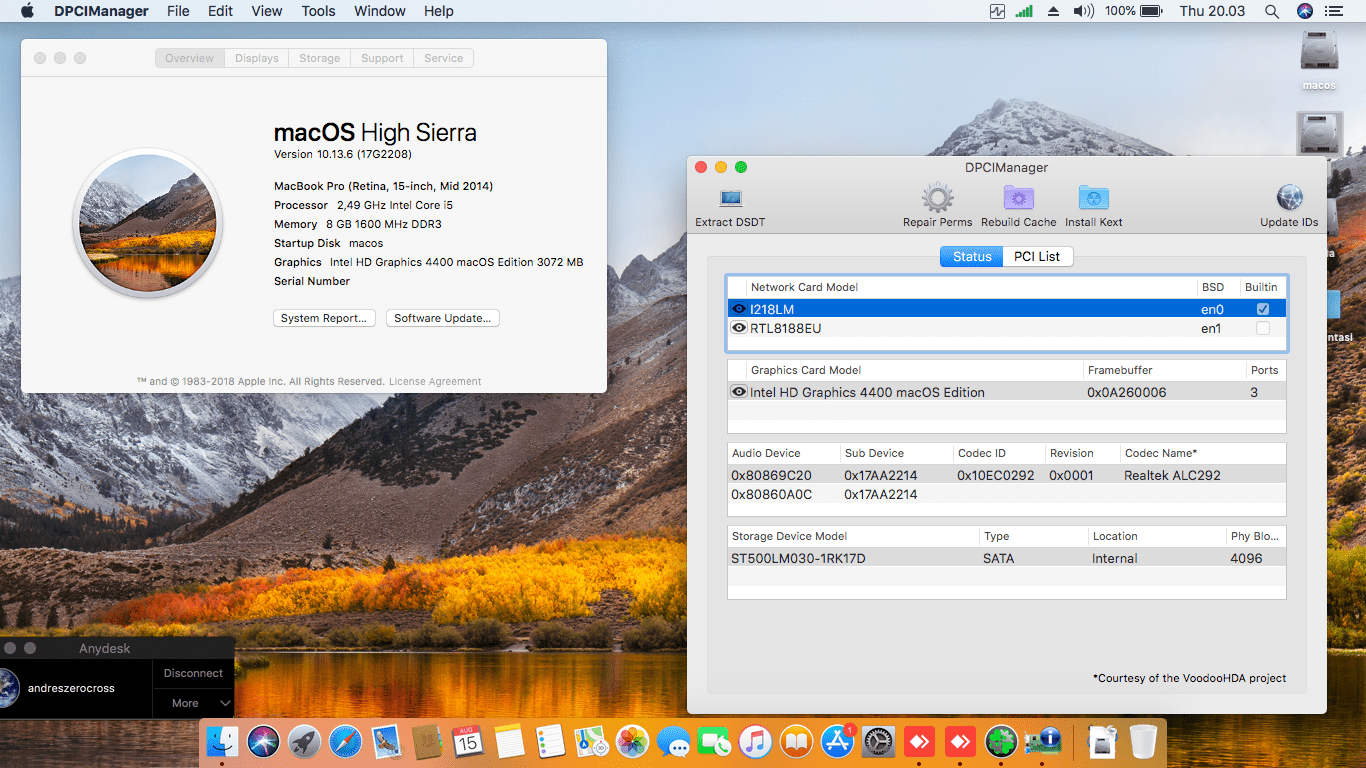 Success Hackintosh macOS High Sierra 10.13.6 Build 17G2208 at Lenovo Thinkpad X240